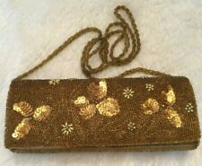 Bijoux Terner Womens Oblong Clutch Evening Bag Gold Sequin Micro Beaded Floral