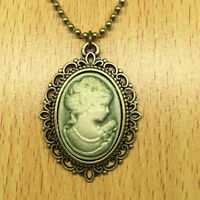 1pcs Fashion Retro Beauty Head Goddess Cameo Charm Alloy Lady Necklace green @