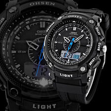 OHSEN Waterproof Digital LCD Day Alarm Mens Military Sport Rubber Watch  YS