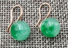 10mm Green Natural Emerald beads Gemstone Yellow Gold Plated Stud Earrings AAA
