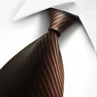 UK0104 Black Brown Striped New 100%Silk Classic JACQUARD Woven Men's Tie Necktie