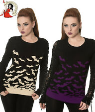 Banned Haunted Bat Jumper Alternative Sweater Purple Sand Halloween