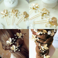 4x Women Bridal bridesmaid Pearl Gold Leaf Headpiece Hair Pin Hairpin Weddin FH