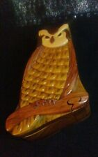Handmade Carved Owl Intarsia Wood Puzzle Box Handcrafted