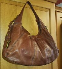 FOSSIL Tan Brown Genuine  Leather Flower Embossed Shoulder Hobo Bag