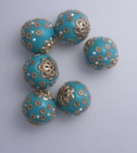 6 HANDMADE INDONESIA TURQUOISE  & GOLD  BEADS 24MM * LOT K 21