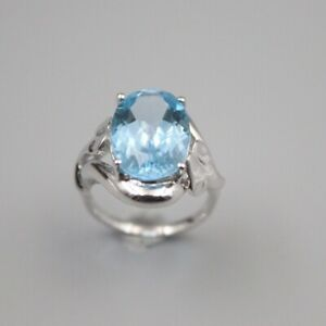 Solid 925 Sterling Silver 18mm Oval Blue Topaz Woman's Ring Size 6-12