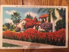 Postcard Unused Florida, St. Petersburg-Home Surrounded By Tropical Foliage