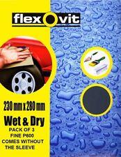 FLEXOVIT WET AND DRY SANDPAPER SHEET SHEETS 230MM X 280MM  PACK OF 3 FINE P600