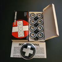 BONES SWISS CERAMIC Skateboard Bearings 8-Pack 8mm 608-RS Precision OPEN BOX