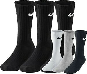 Nike Socks Crew Cushioned Long Cotton Men Women Black White Grey Sport Unisex