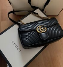 GUCCI  Marmont Small  Matelasse  Black Leather Shoulder Bag Only Used Twice