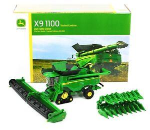 2021 FARM SHOW 1:64 ERTL John Deere X9 1100 TRACKED COMBINE *BOTH HEADS*  NIB!