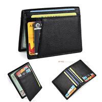 Fashion Mens Slim Thin Genuine Leather Bifold Id Wallet Money Credit Card Holder
