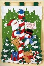 Bucilla Santa, Snowman & Animals NORTH POLE WALL HANGING FELT & SEQUIN KIT - NEW