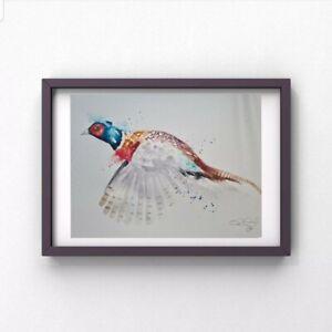 New Elle Smith large original signed watercolour art painting flushed pheasant