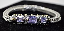 B284 Gorgeous Designer Style 2 Tone cable Purple Cubic zircon fashion Bracelet