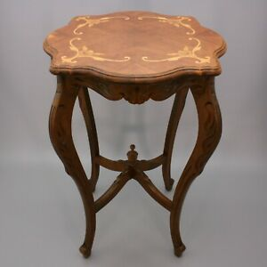 Vintage Heritage Inlaid Accent Side Parlor End Scalloped Carved Inlay Wood Table