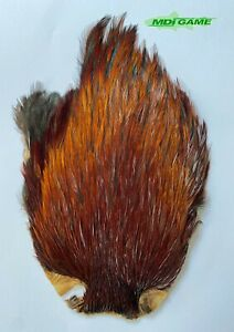 MDI Game Fishing Quality Grade A Natural Furnace Indian Cock Cape Fly Tying K1