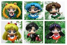 """SAILOR MOON and Friends 6 Piece Christmas Tree Ornament Set - Around 2"""" Tall NEW"""