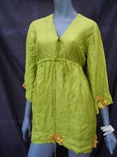 Pure Silk Caftan Dress Beach Cover Up med 8/12 lime green orange flowers