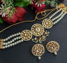 Latest Indian Punjabi Kundan Choker Necklace Earring Set Bollywood Fashion Jewel