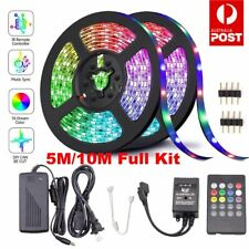 5M 10M 3528 RGB LED Strip Light Power Kit  Dimmable Sound Sensor Activated Music