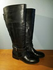 2c783a652d922 Marc Fisher Tall Riding Boots Women's Black Leather Wide Calf Fit Size ...