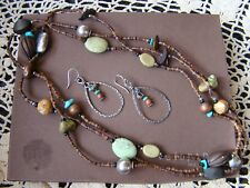 Silpada Set, Amber Jasper Howlite Wood Necklace N1569 & Earrings W1348 Set $155