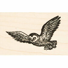 Flying Owl Beeswax Rubber Stamp Mounted Animals Birds Wildlife Scenic