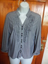 CC (Country Casuals) petite navy and white striped blouse size M