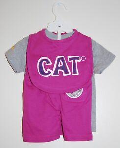 NWT CAT Caterpillar Infant Girls Purple & Gray Bottom Loader 3pc Short Set