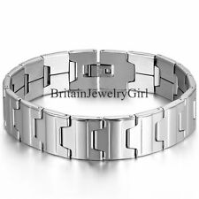 16MM Wide Heavy Stainless Steel Link Bracelet Cuff Wristband Men's Jewelry 8.3""