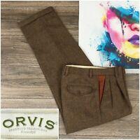 Vintage Orvis Men's Pants Trousers Herringbone Tweed Wool Leather Trim Sze 32R