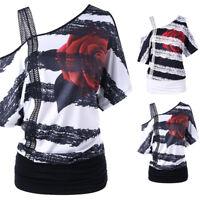 Fashion Womens Short Sleeve Blouse Skew Neck Strapless Floral Print T-Shirt Tops