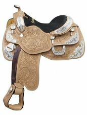 """16"""" Showman Argentina cow leather show saddle oak leaf tooling and silver plates"""