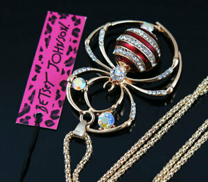 Betsey Johnson Red Crystal Enamel Cute Spider Pendant Sweater Chain Necklace