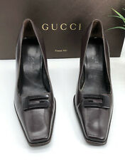Gucci Authentic Vintage 90s Big G Logo Leather Pumps Brown 37 US 7 W/ Box