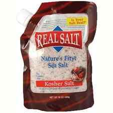 Redmond Real Salt sin refinar Antigua Sal de Mar Bolsa De Recarga Kosher moler [454g]