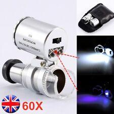 60X Pocket Microscope Loupe Jeweller Magnifying Magnifier Glass LED / UV Light