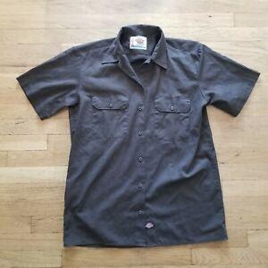 Dickies Short Sleeve Work Shirt Brown preowned sz Medium workwear used M $$
