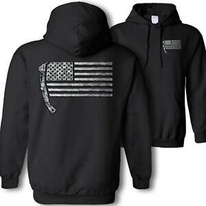 Excavator American flag hooded sweatshirt - USA construction digging camo hoodie