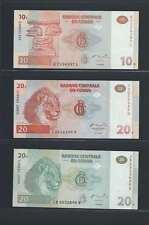 Congo Lot de 3 billets différents  en état NEUF   Lot N° 2
