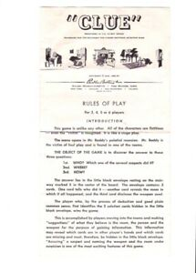 Vintage Clue Board Game Directions Rules of Play Only (C) 1949, 1950