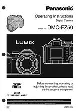 Panasonic Lumix DMC-FZ50  Camera User Guide Instruction Manual