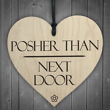 Posher Than Next Door Novelty Wooden Hanging Heart Shabby Chic Garden Plaque