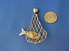 Vtg CARSI Mexico TC-57 Articulated Fish in a Net Pendant Sterling