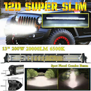 "13"" Super Slim 12D 2-Row LED Work Light Bar Spot Flood Combo Beam Driving Lamp"