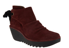FLY London Suede Ruched Ankle Boots with Tie Detail Yebi Wine EU38 US 7-7.5