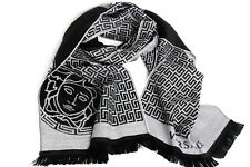 NEW $375 Versace 100% Wool Black / Gray Medusa Sciarpa Scarf Authentic Unisex